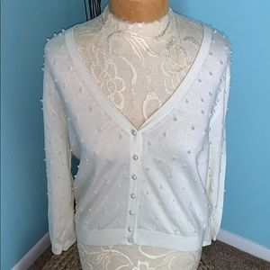 Jenny Yoo Ivory Pearl Cardigan Sweater Medium
